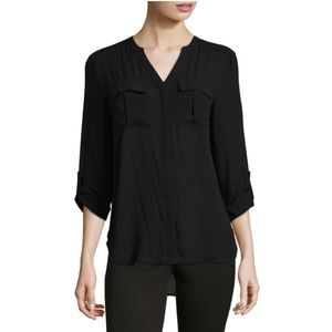 NWT a.n.a. V-Neck Pleat Front Roll Tab Top